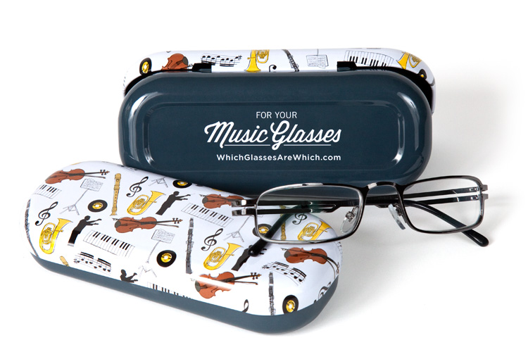 Music glasses case with glasses